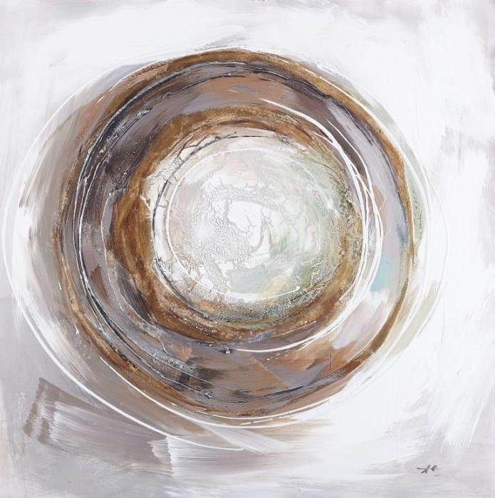 Moderne Schilderijen: Olieverf schilderij cirkel pastelkleuren licht bruin en bruin