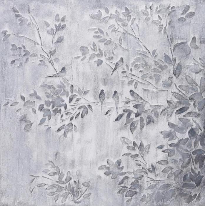 Dieren Schilderijen: Olieverf schilderij grijze struik met vogels