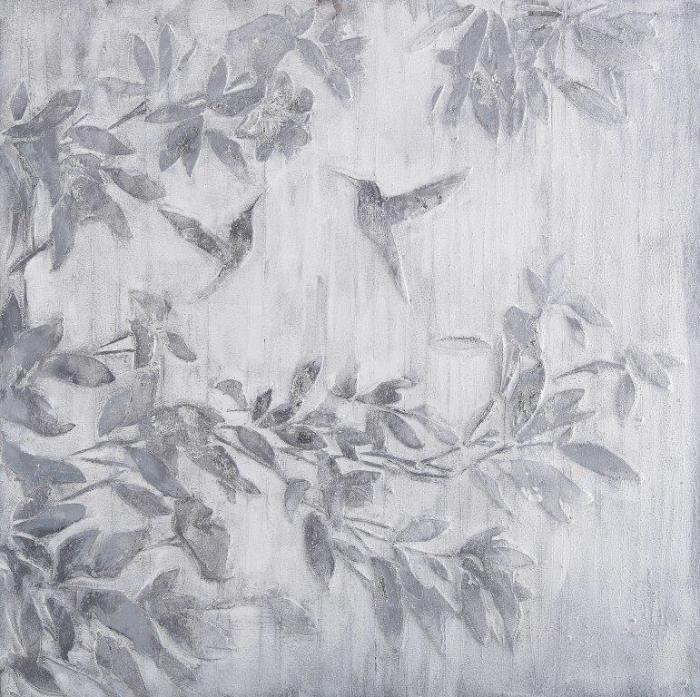 Dieren Schilderijen: Olieverf schilderij grijze struik met vliegende vogels