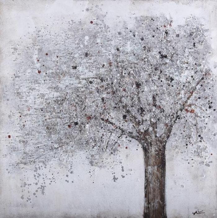 Natuur Schilderijen: Olieverf schilderij grijze boom structuur