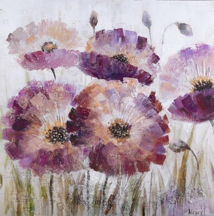Bloemen Schilderijen: Olieverf schilderij bloemen paars oranje