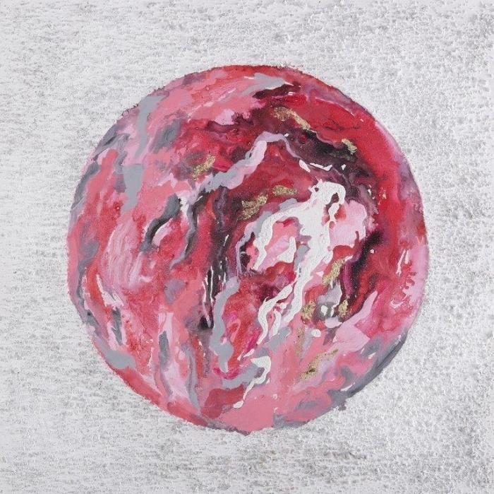 Kleurrijke Schilderijen: Schilderij Knalroze Cirkel 60x60