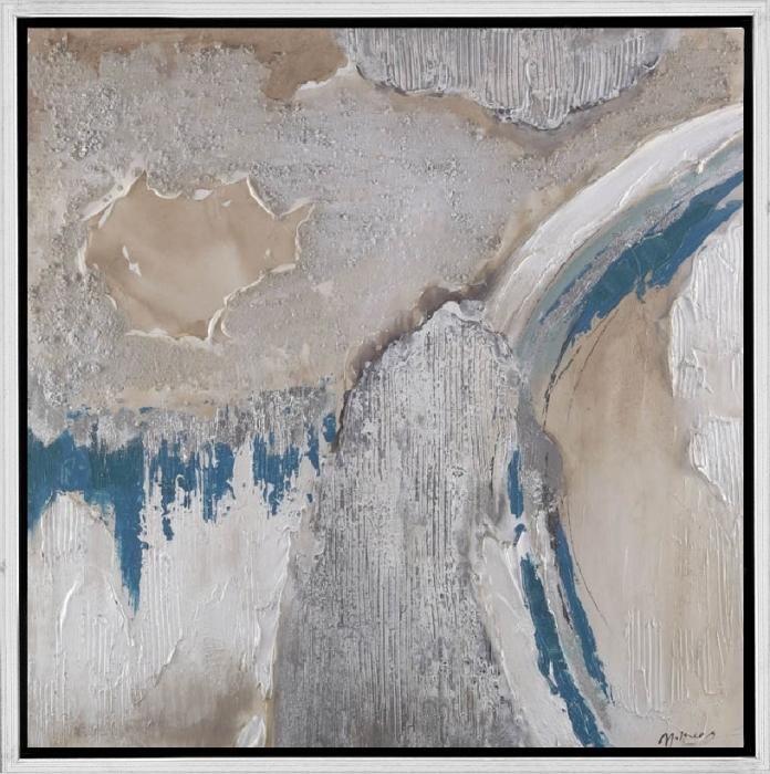 Abstracte Schilderijen: Schilderij abstract grind structuur beige blauw 100x100_100% handgeschilderd - Schilderijbestellen