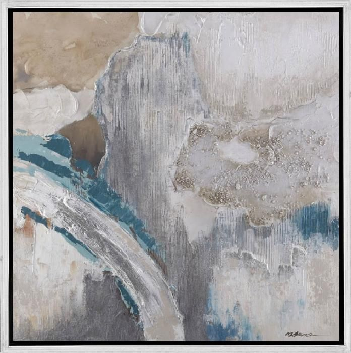 Abstracte Schilderijen: Schilderij abstract grind structuur grijs blauw 100x100_100% handgeschilderd - Schilderijbestellen