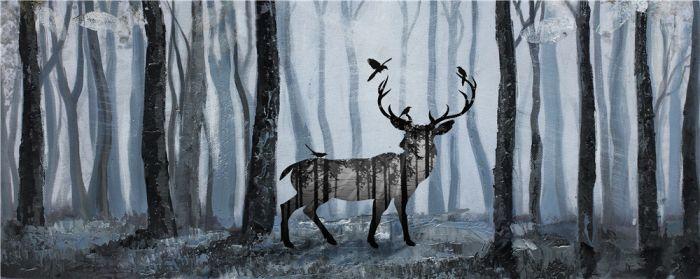 Dieren Schilderijen: Olieverf schilderij blauw bosrijk met hert en vogel