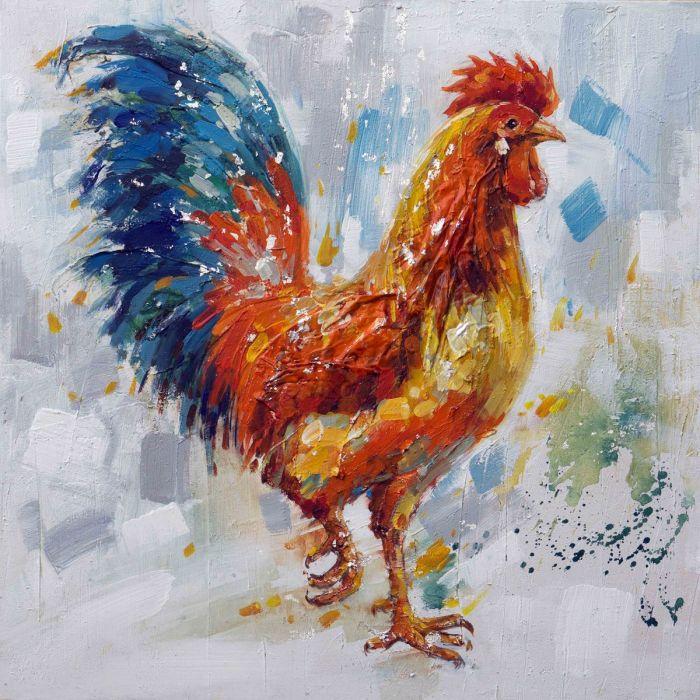 Dieren Schilderijen: Schilderij olieverf kleurrijke haan 80x80
