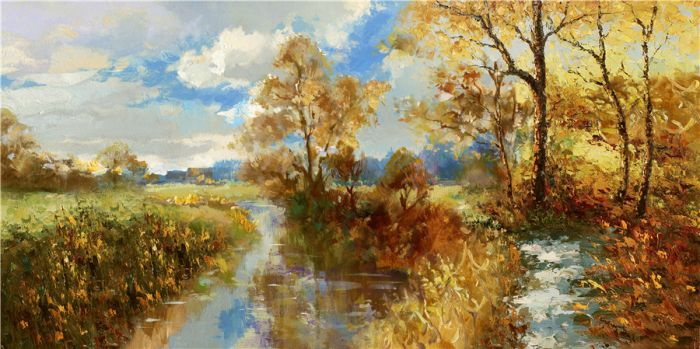 Landschappen Schilderijen: Olieverf schilderij bosrijk rivier herfstachtig