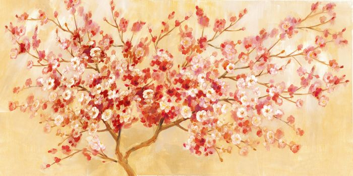 Natuur Schilderijen: Olieverf schilderij wit rode boom cherry blossom