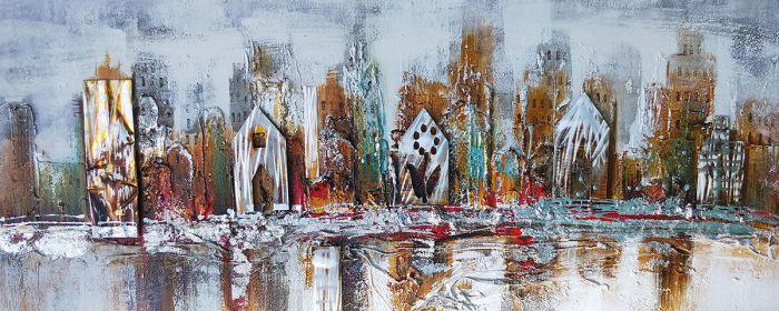 Landschappen Schilderijen: Olieverf schilderij aluminium stadgrens