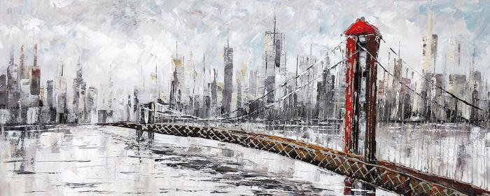 Steden Schilderijen: Olieverf schilderij rode Brooklyn Bridge