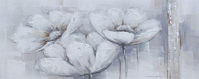Bloemen Schilderijen: Olieverf Schilderij Drie Pastelkleurige Bloemen 150x60