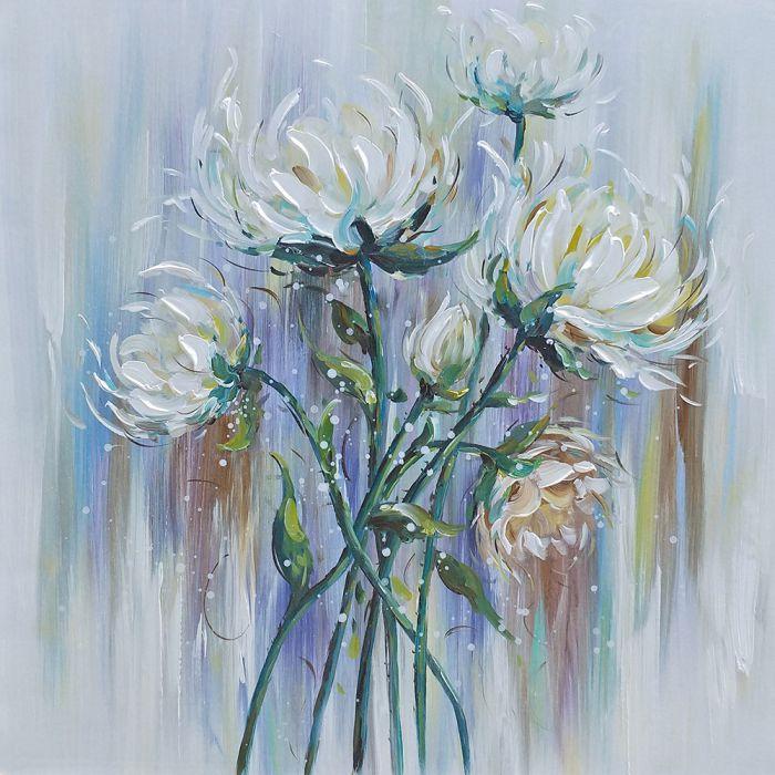 Bloemen Schilderijen: Schilderij Witte Dahlias 100x100
