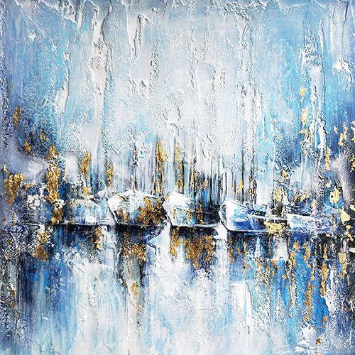 Moderne Schilderijen: Schilderij Turquoise Boten 100x100