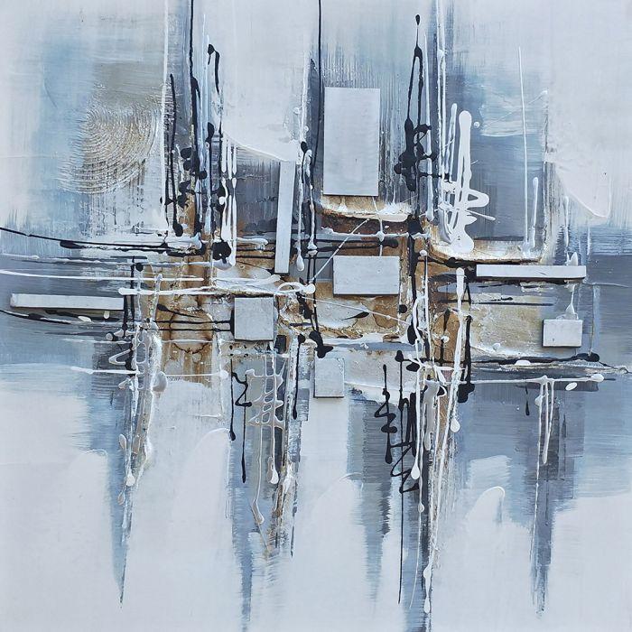 Abstracte Schilderijen: Schilderij Abstract Grijs Blauw 120x60