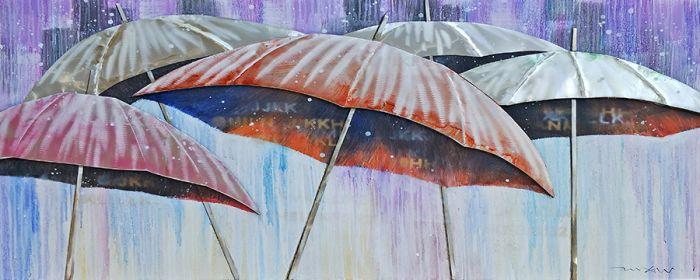 Kleurrijke Schilderijen: Olieverf Schilderij Kleurrijke Paraplus 150x60
