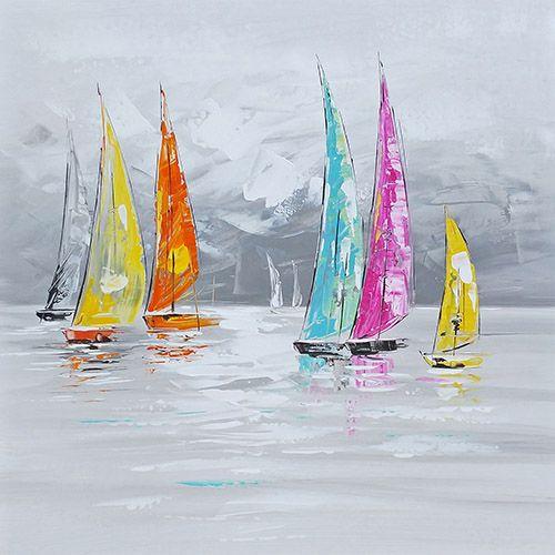 Landschappen Schilderijen: Schilderij Kleurvolle Zeilboten 150x60