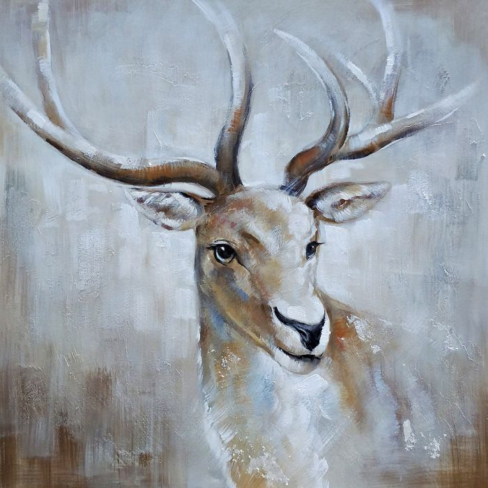 Dieren Schilderijen: Schilderij Pastel Bruin Hert 100x100