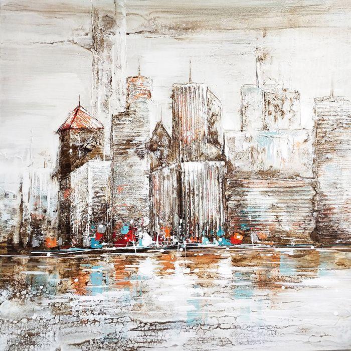 Steden Schilderijen: Schilderij Beige Rippel Waolkenkrabbers 100x100