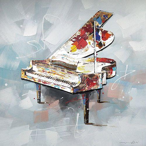 Kleurrijke Schilderijen: Schilderij Kleurrijke Aluminium Piano 100x100