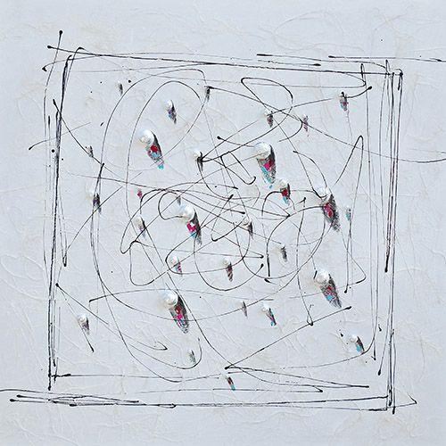 Abstracte Schilderijen: Schilderij Zwarte Krassen Witte Kralen 100x100