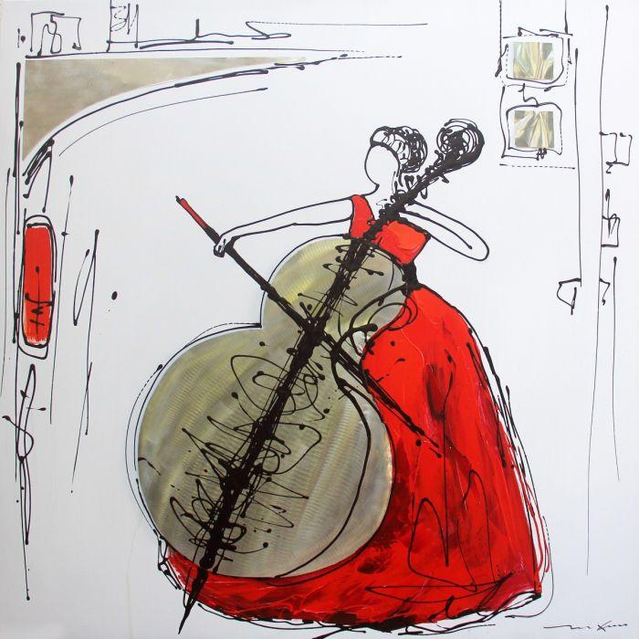 Figuratieve Schilderijen: Rode Jurk Cello Vrouw Aluminium Olieverf Schilderij 100x100