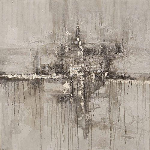 Abstracte Schilderijen: Schilderij Grijs Abstract Gaas 100x100
