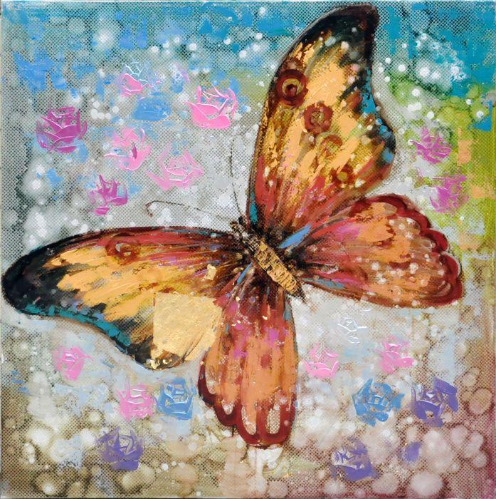 Dieren Schilderijen: Kleurrijke Vlinder Schilderij