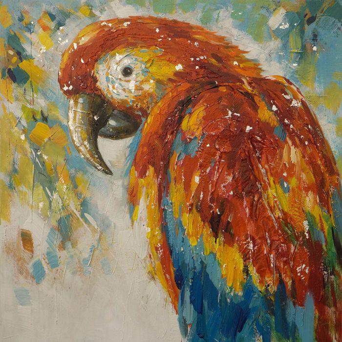 Dieren Schilderijen: Olieverf schilderij kleurrijke papegaai