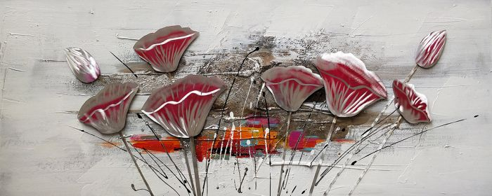Bloemen Schilderijen: Olieverf schilderij rode aluminium klaprozen