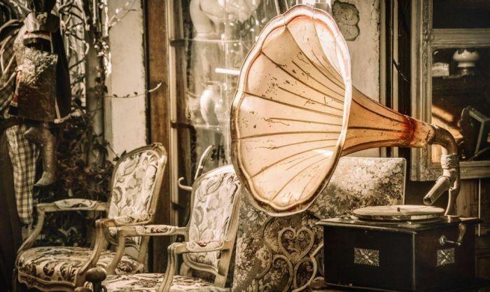 Foto Kunst Schilderijen: RVS schilderij grammafoon