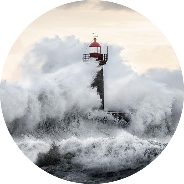 Foto Kunst Schilderijen: Rond glas schilderij foto kunst vuurtoren in storm