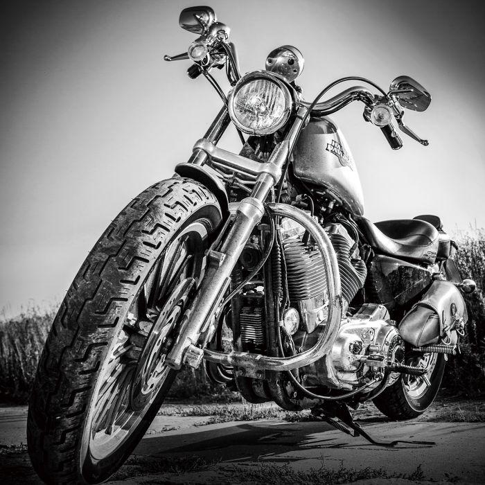 Foto Kunst Schilderijen: Glas schilderij foto kunst Harley Davidson