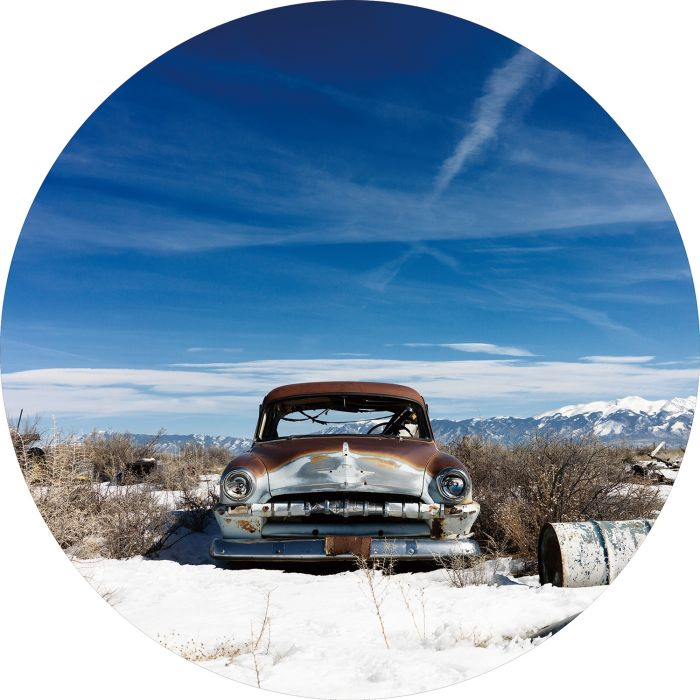 Foto Kunst Schilderijen: Rond glas schilderij foto kunst bergachtig natuur oldtimer