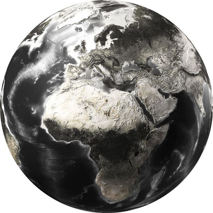 Foto Kunst Schilderijen: Rond glas schilderij foto kunst zwart witte wereldkaart