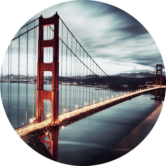 Foto Kunst Schilderijen: Rond glas schilderij foto kunst Golden Gate Bridge