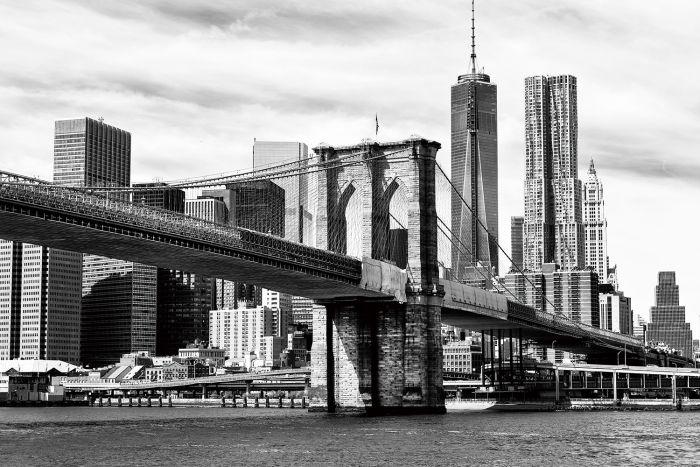 Foto Kunst Schilderijen: Glas schilderij foto kunst Brooklyn Bridge zwart wit