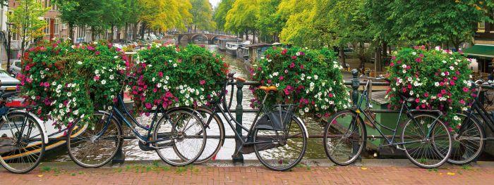 Foto Kunst Schilderijen: Glas schilderij foto kunst bloemenbrug fietsen