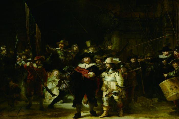 Figuratieve Schilderijen: Glas Schilderij De Nachtwacht 120x80