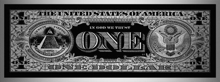 Foto Kunst Schilderijen: One Dollar United States Glas Schilderij 160x60