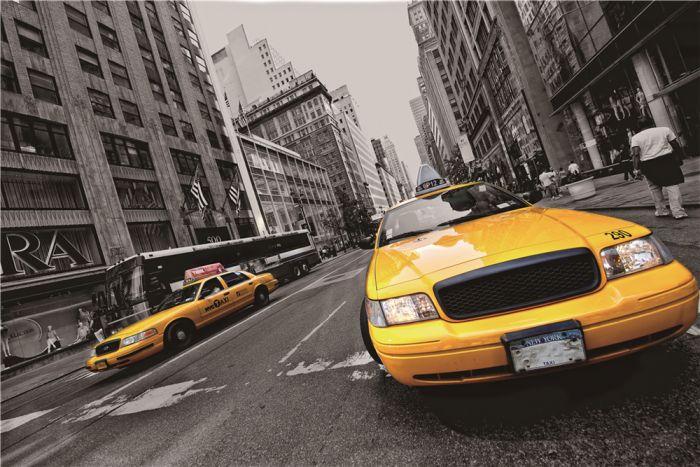Foto Kunst Schilderijen: Gele New York taxi op glas