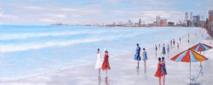 Gebouwen Schilderijen: Pastelkleurig Strandzicht Schilderij
