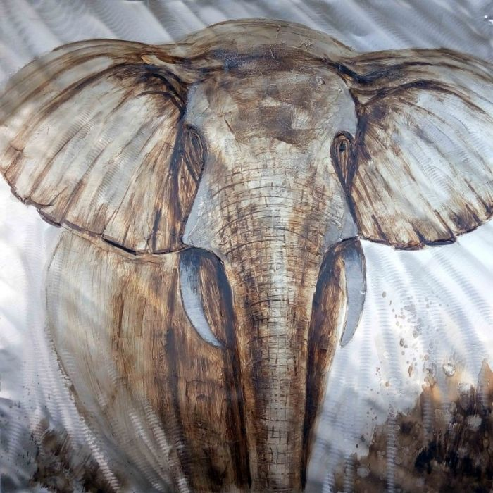 Dieren Schilderijen: Schilderij wilde olifant 100x100