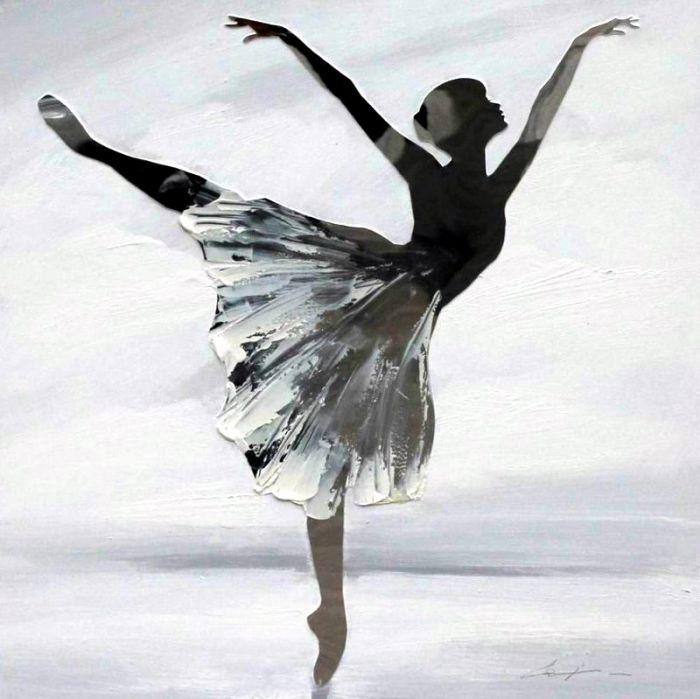 Figuratieve Schilderijen: Schilderij Ballerina modern 100x100