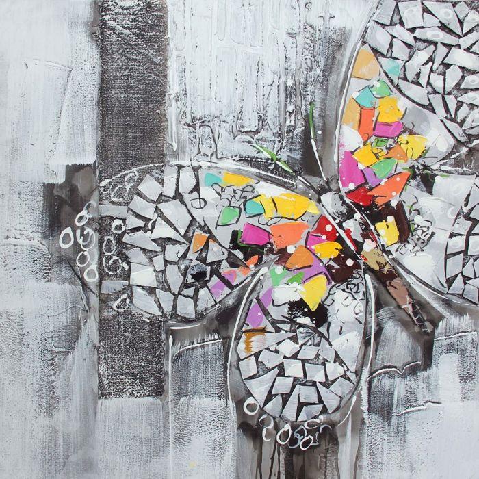Kleurrijke Schilderijen: Schilderij olieverf kleurrijke vlinder 80x80