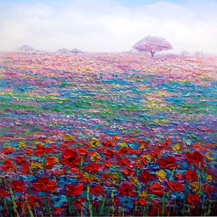 Landschappen Schilderijen: Kleurrijke Bloemenweide Schilderij