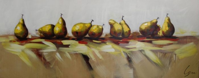 Moderne Schilderijen: Schilderij moderne peren 150x60