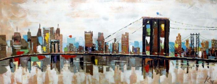 Steden Schilderijen: Schilderij steden modern 150x60