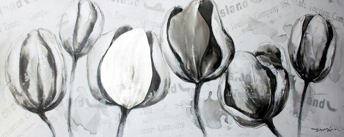 Bloemen Schilderijen: Grijze Witte Tulpen Schilderij