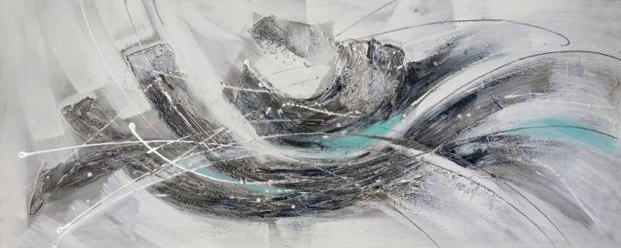 Abstracte Schilderijen: Abstract Grijs Licht Blauw Schilderij