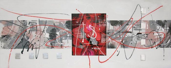 Abstracte Schilderijen: Metaal Abstract Grijs Rood Schilderij